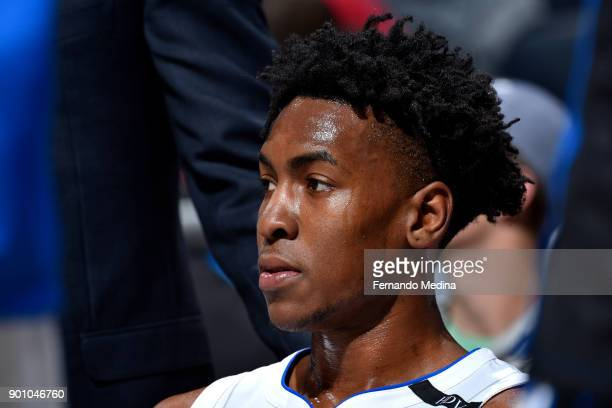 Wesley Iwundu of the Orlando Magic looks on during the game against the Houston Rockets on January 3 2018 at the Amway Center in Orlando Florida NOTE...