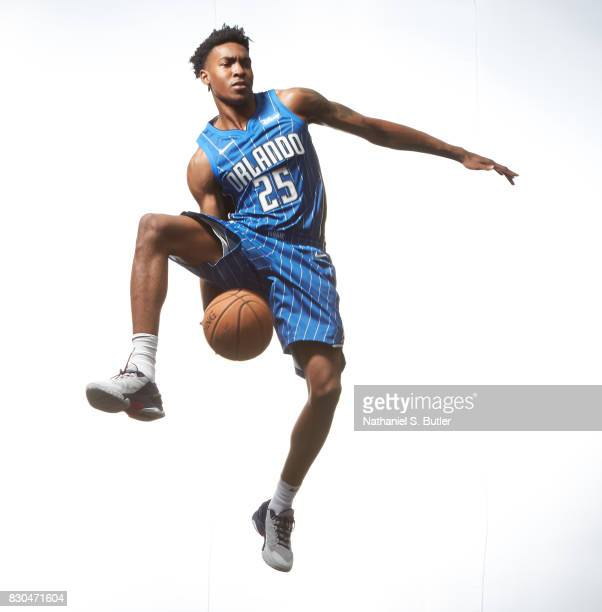 Wesley Iwundu of the Orlando Magic poses for a photo during the 2017 NBA Rookie Shoot on August 11 2017 at the Madison Square Garden Training Center...