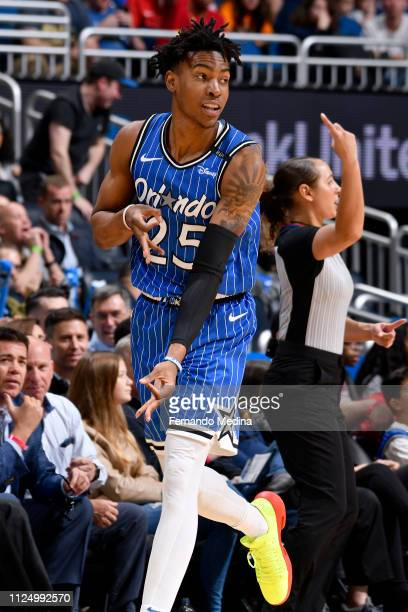 Wesley Iwundu of the Orlando Magic reacts to a play during the game against the Charlotte Hornets on February 14 2019 at Amway Center in Orlando...