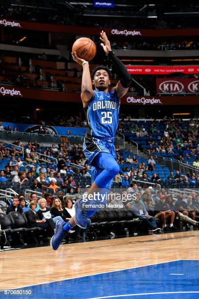 Wesley Iwundu of the Orlando Magic shoots the ball against the Boston Celtics on November 5 2017 at Amway Center in Orlando Florida NOTE TO USER User...