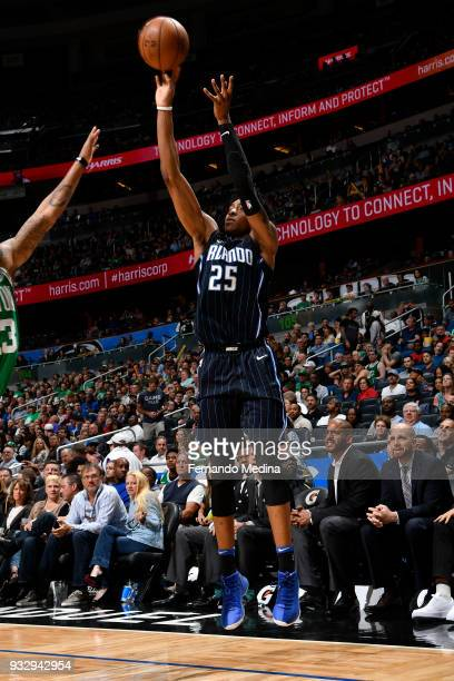 Wesley Iwundu of the Orlando Magic shoots the ball against the Boston Celtics on March 16 2018 at Amway Center in Orlando Florida NOTE TO USER User...