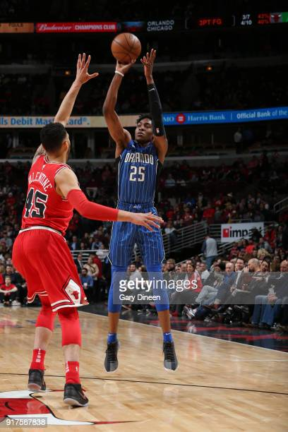 Wesley Iwundu of the Orlando Magic shoots the ball against the Chicago Bulls on February 12 2018 at the United Center in Chicago Illinois NOTE TO...