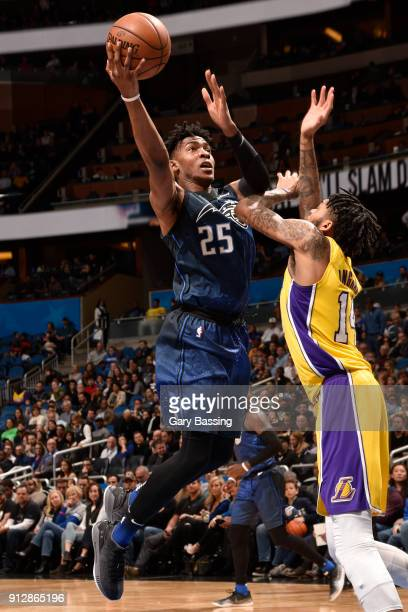 Wesley Iwundu of the Orlando Magic shoots the ball against the Los Angeles Lakers on January 31 2018 at Amway Center in Orlando Florida NOTE TO USER...