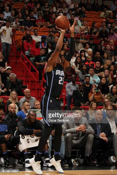 Wesley Iwundu of the Orlando Magic shoots the ball against the Miami Heat on February 5 2018 at American Airlines Arena in Miami Florida NOTE TO USER...