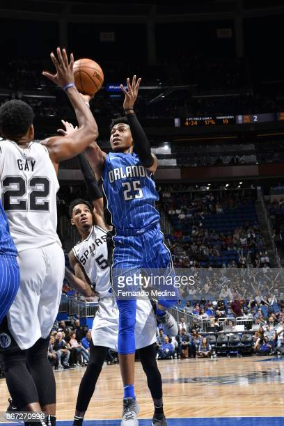 Wesley Iwundu of the Orlando Magic shoots the ball against the San Antonio Spurs on October 27 2017 at Amway Center in Orlando Florida NOTE TO USER...