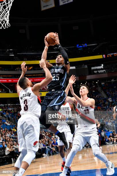 Wesley Iwundu of the Orlando Magic shoots the ball against the Portland Trail Blazers on December 15 2017 at Amway Center in Orlando Florida NOTE TO...