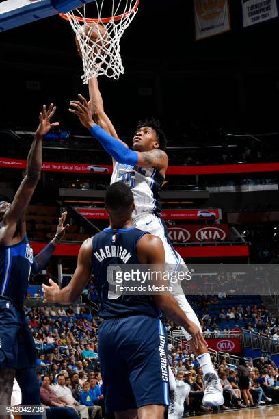 Wesley Iwundu of the Orlando Magic shoots the ball during the game against the Dallas Mavericks on April 4 2018 at Amway Center in Orlando Florida...