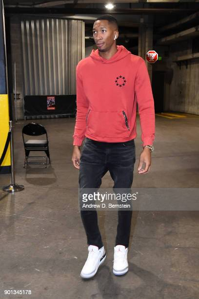 Wesley Johnson of the LA Clippers arrives before the game against the Oklahoma City Thunder on January 4 2018 at STAPLES Center in Los Angeles...