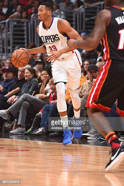 Wesley Johnson of the LA Clippers brings the ball up court against the Miami Heat during the game on January 8 2017 at STAPLES Center in Los Angeles...