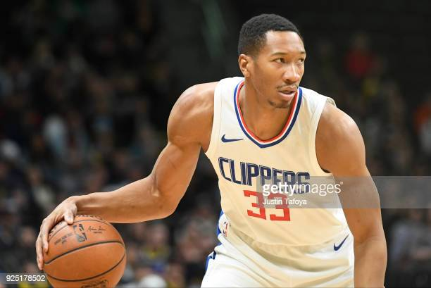 Wesley Johnson of the LA Clippers controls the ball during the game against the Denver Nuggets at Pepsi Center on February 27 2018 in Denver Colorado...