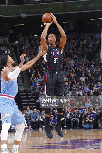 Wesley Johnson of the LA Clippers goes up for a shot during a game against the Sacramento Kings on January 6 2017 at Golden 1 Center in Sacramento...