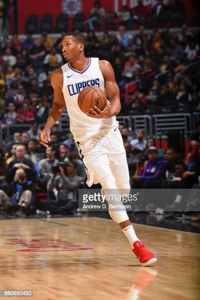 Wesley Johnson of the LA Clippers handles the ball against the Los Angeles Lakers on November 27 2017 at STAPLES Center in Los Angeles California...