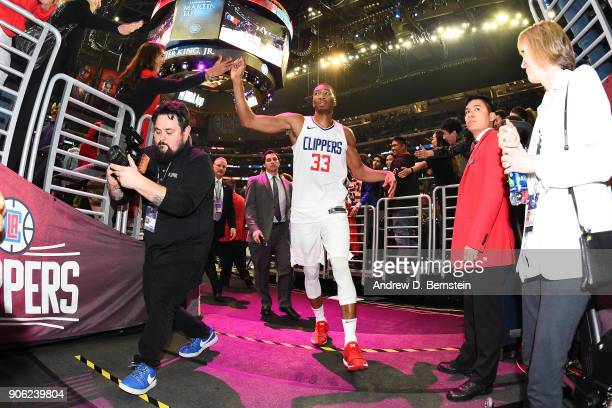 Wesley Johnson of the LA Clippers high fives a fan after the game against the Houston Rockets on January 15 2018 at STAPLES Center in Los Angeles...