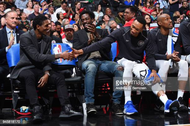 Wesley Johnson of the LA Clippers Patrick Beverley of the LA Clippers and Lou Williams of the LA Clippers photographed during the game against the...