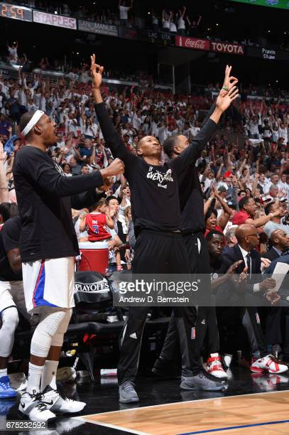 Wesley Johnson of the LA Clippers reacts to a play during Game Seven of the Western Conference Quarterfinals of the 2017 NBA Playoffs on April 30...