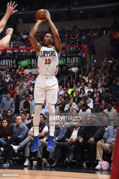 Wesley Johnson of the LA Clippers shoots the ball against the Milwaukee Bucks on March 15 2017 at STAPLES Center in Los Angeles California NOTE TO...