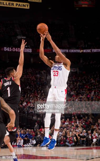 Wesley Johnson of the LA Clippers shoots the ball against the Portland Trail Blazers on October 26 2017 at the Moda Center in Portland Oregon NOTE TO...