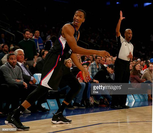 Wesley Johnson of the Los Angeles Clippers celebrates his shot in the first quarter against the New York Knicks at Madison Square Garden on January...