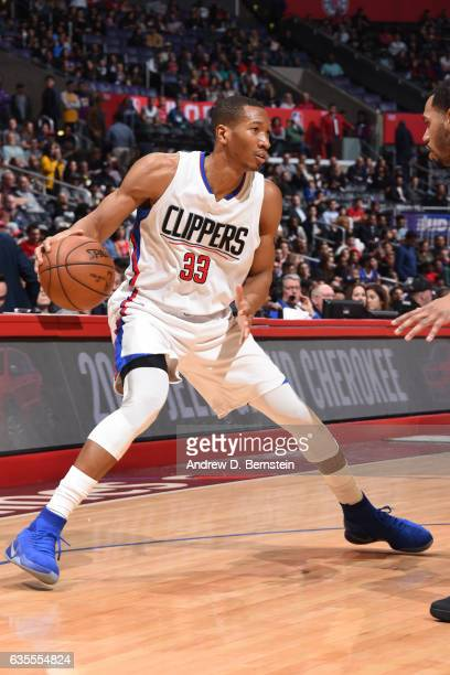 Wesley Johnson of the Los Angeles Clippers handles the ball against the Atlanta Hawks on February 15 2017 at STAPLES Center in Los Angeles California...