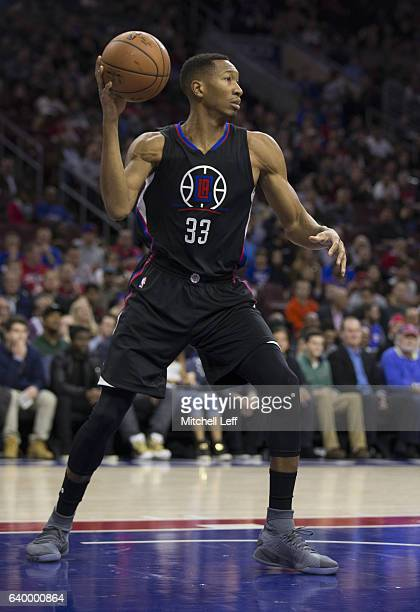 Wesley Johnson of the Los Angeles Clippers passes the ball against the Philadelphia 76ers at the Wells Fargo Center on January 24 2017 in...