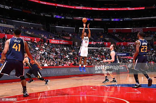 Wesley Johnson of the Los Angeles Clippers shoots the ball against the Utah Jazz during a preseason game on October 10 2016 at STAPLES Center in Los...