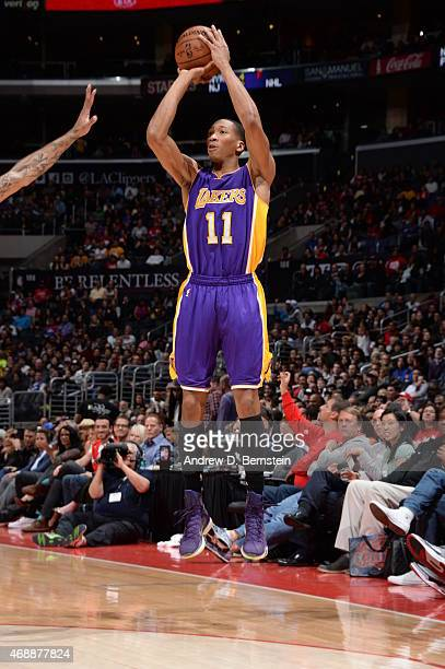 Wesley Johnson of the Los Angeles Lakers shoots against the Los Angeles Clippers on April 7 2015 at Staples Center in Los Angeles California NOTE TO...