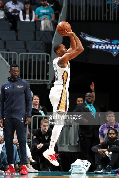 Wesley Johnson of the New Orleans Pelicans shoots the ball against the Charlotte Hornets on December 2 2018 at Spectrum Center in Charlotte North...