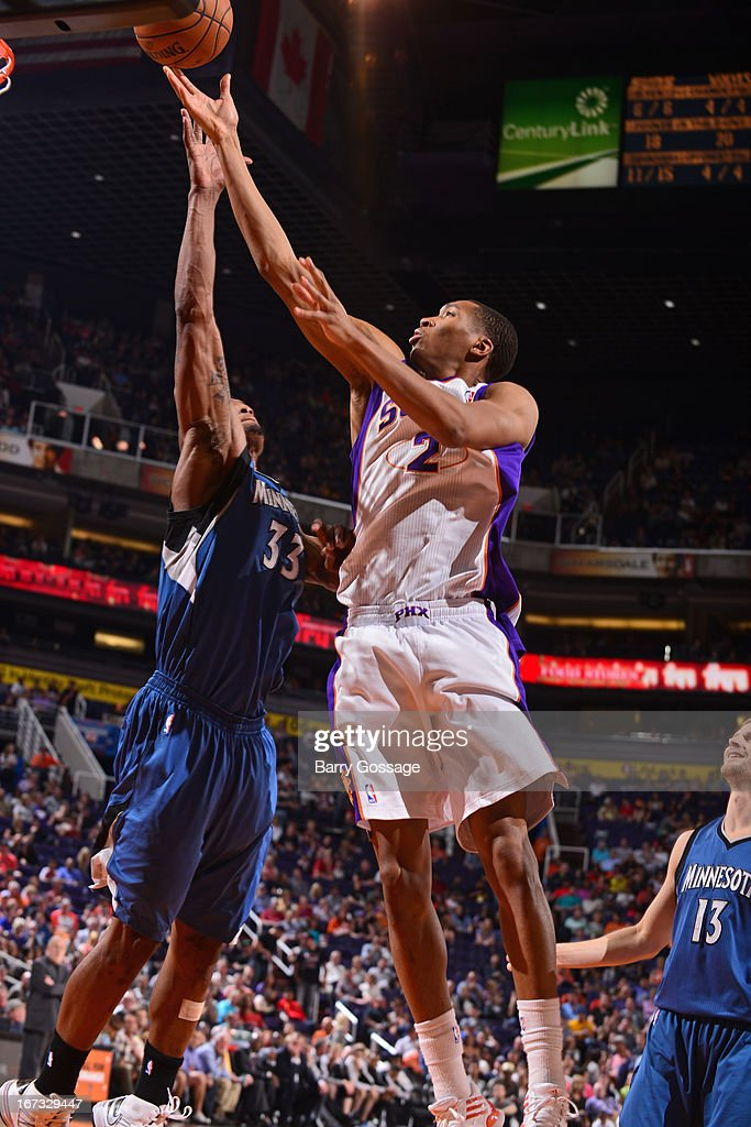 Wesley Johnson #2 of the Phoenix Suns drives to the basket against the Minnesota Timberwolves on March 22, 2013 at U.S. Airways Center in Phoenix, Arizona.