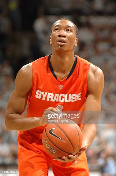 Wesley Johnson of the Syracuse Orange takes a foul shot during a college basketball game against the Georgetown Hoyas on February 18, 2010 at the...