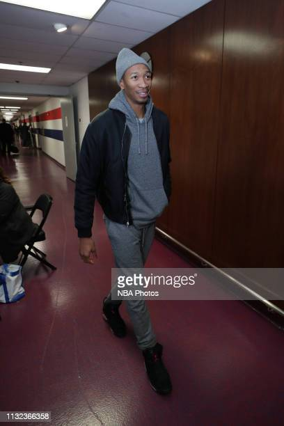 Wesley Johnson of the Washington Wizards arrives to the arena prior to the game against the Miami Heat on March 23 2019 at Capital One Arena in...