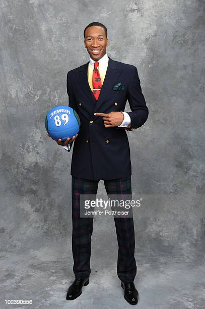 Wesley Johnson selected number four by the Minnesota Timberwolves poses for a portrait during the 2010 NBA Draft at The WaMu Theatre at Madison...
