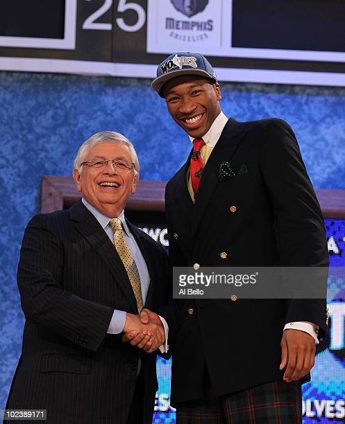 Wesley Johnson stands with NBA Commisioner David Stern after being drafted by The Minnesota Timberwolves at Madison Square Garden on June 24 2010 in...