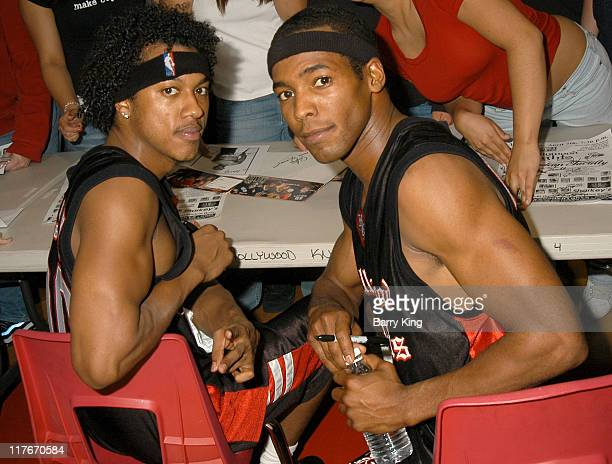 Wesley Jonathan and Anthony Montgomery during Hollywood Knights Basketball Game April 7 2004 at Burroughs High School in Burbank California United...