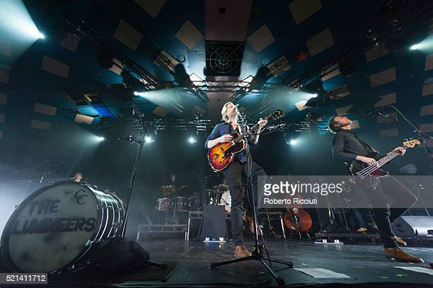 Wesley Keith Schultz and Byron Isaacs of The Lumineers perform on stage at Barrowlands Ballroom on April 15, 2016 in Glasgow, Scotland.