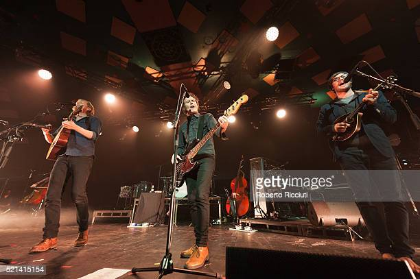 Wesley Keith Schultz, Byron Isaacs and Stelth Ulvang of The Lumineers performs on stage at Barrowlands Ballroom on April 15, 2016 in Glasgow,...