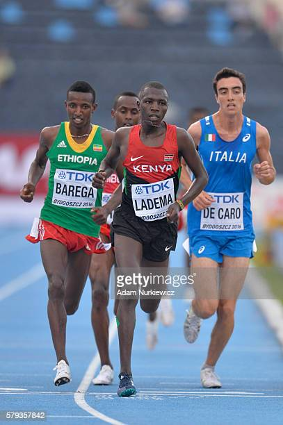 Wesley Ladema from Kenya and Gaseleon Barega from Ethiopia compete in men's 5000 metres during the IAAF World U20 Championships at the Zawisza...