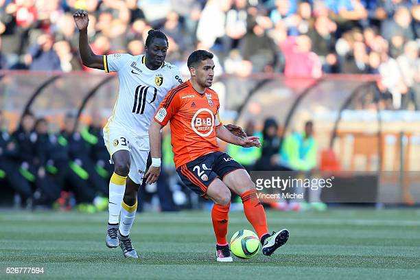 Wesley Lautoa of Lorient adn Eder of Lille during the French Ligue 1 match between Fc Lorient and Lille OSC at Stade du Moustoir on April 30 2016 in...