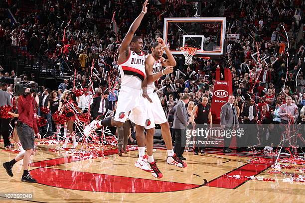 Wesley Matthews and Nicolas Batum of the Portland Trail Blazers celebrate a victory during a game against the Phoenix Suns on December 7 2010 at the...