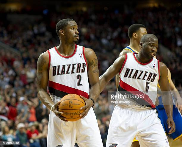 Wesley Matthews and WIll Barton Portland Trail Blazers in a game versus the Golden State Warriors The Trail Blazers won 90 to 87