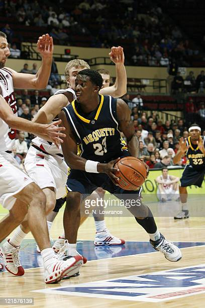 Wesley Matthews of Marquette drives to the basket during semifinal action between Texas Tech and Marquette at the annual CBE Classic at Municipal...