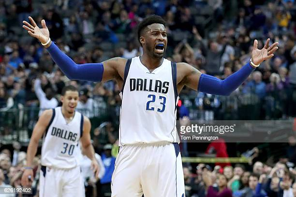 Wesley Matthews of the Dallas Mavericks celebrates after scoring against the New Orleans Pelicans in the second half at American Airlines Center on...