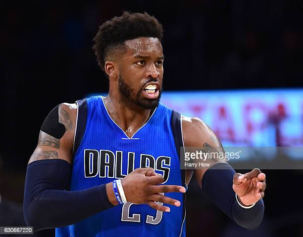 Wesley Matthews of the Dallas Mavericks celebrates his basket to take the lead over the Los Angeles Lakers during the third quarter at Staples Center...
