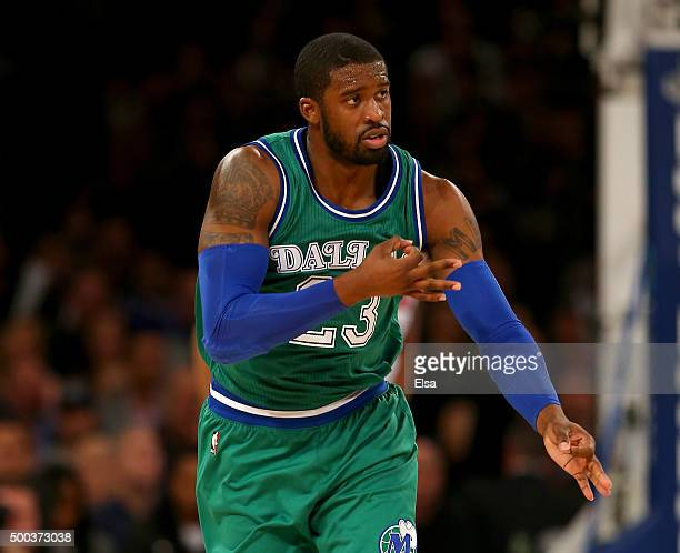Wesley Matthews of the Dallas Mavericks celebrates his three point shot in the second half against the New York Knicks at Madison Square Garden on...