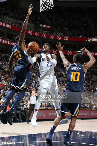 Wesley Matthews of the Dallas Mavericks drives to the basket against the Utah Jazz on October 30 2017 at Vivint Smart Home Arena in Salt Lake City...