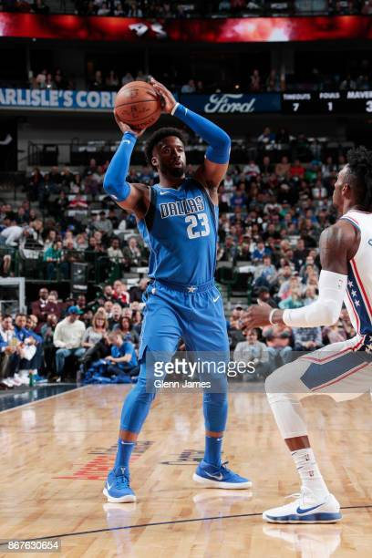 Wesley Matthews of the Dallas Mavericks handles the ball against the Philadelphia 76ers on October 28 2017 at the American Airlines Center in Dallas...