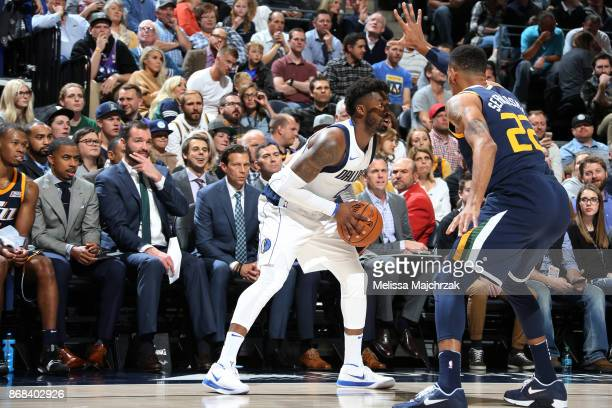 Wesley Matthews of the Dallas Mavericks handles the ball against the Utah Jazz on October 30 2017 at Vivint Smart Home Arena in Salt Lake City Utah...