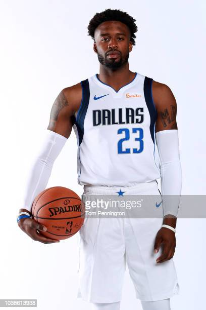 Wesley Matthews of the Dallas Mavericks poses for a portrait during the Dallas Mavericks Media Day held at American Airlines Center on September 21...