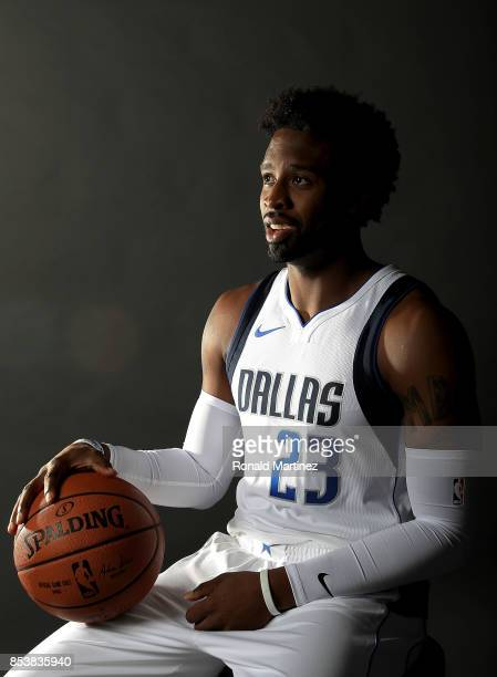Wesley Matthews of the Dallas Mavericks poses for a portrait during Dallas Mavericks media day at American Airlines Center on September 25 2017 in...