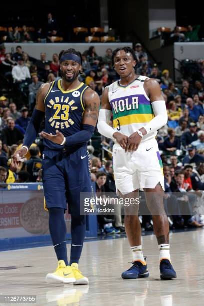 Wesley Matthews of the Indiana Pacers and Stanley Johnson of the New Orleans Pelicans share a laugh during the game on February 22 2019 at Bankers...