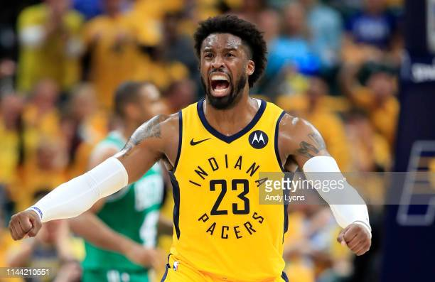 Wesley Matthews of the Indiana Pacers celebrates against the Boston Celtics in game four of the first round of the 2019 NBA Playoffs at Bankers Life...